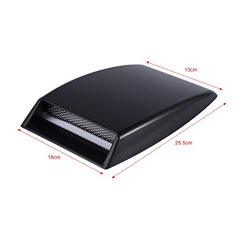 1 Pcs Car Decorative Air Flow Intake Scoop Bonnet Simulation Vent Cover Hood Black Universal