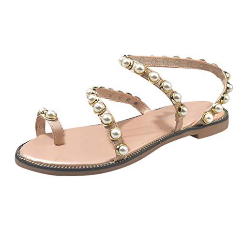 Women's Pearl Flat Student Sandals Beach Toe Ring Casual Bohemian Summer Roman Sandals Beige (Sandals Womens Bongo)