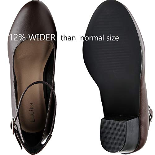41ccf8e84d5a Luoika Women s Wide Width Heel Pump - Ankle Buckle Strap Round Closed Toe  Dressing Shoes.