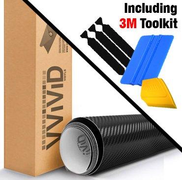 VViViD Black Carbon Fiber Automotive Vinyl Wrap Film w/ 3M Toolkit (1ft x 5ft)