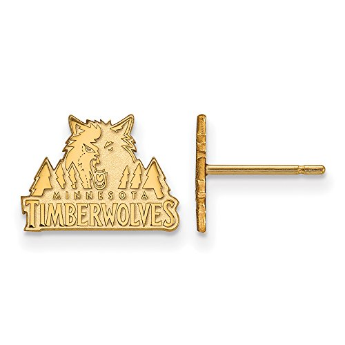 NBA Minnesota Timberwolves X-Small Post Earrings in 10K Yellow Gold by LogoArt