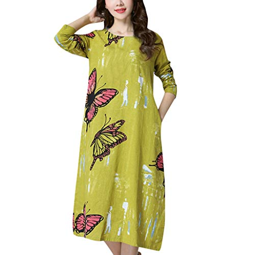- Women's Linen Butterfly Cotton and Linen National Style Print Loose Plus Size Long Sleeve Round Neck Dress (XXL, Yellow)