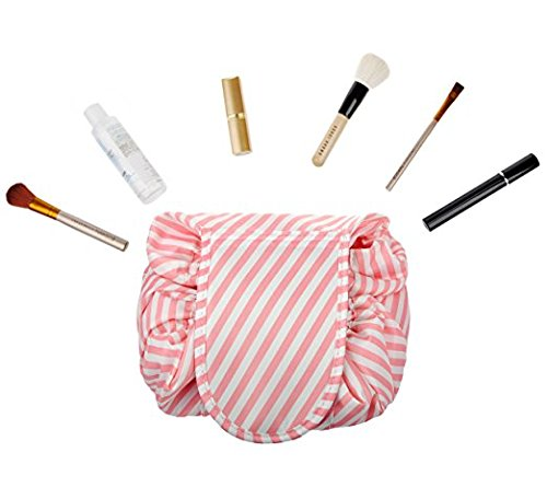 Drawstring Cosmetic Bag Travel Lazy Makeup Storage Bag Toiletry Bags Portable&Waterproof Quick Pack Large Cosmetic Bag Dual Magic Bags with Zipper&Drawstrings (Pink Stripe) by OTHEWELL (Image #5)