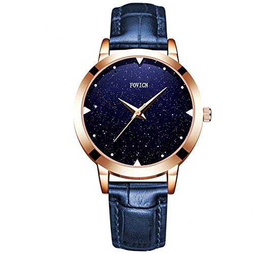 Women Quartz Watch Womens Waterproof Lady Watch Creative Starlight Dial Birthday Gift with Genuine Leather Band