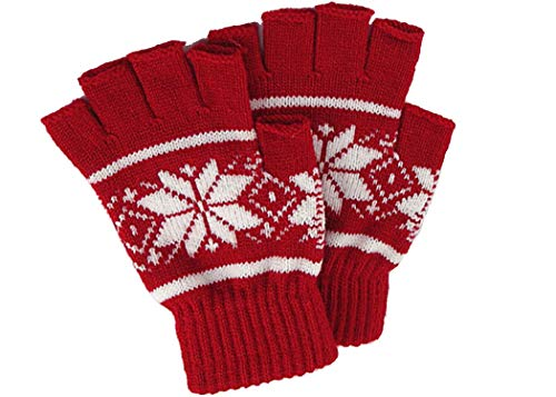 Outrip Womens Fingerless Gloves Winter Warm Knit Thumb Hole Mittens Arm Warmers (Snowflake ()