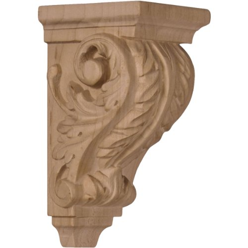 Ekena Millwork CORW02X02X04ACCH 2 1/4-Inch W x 2 1/4-Inch D x 4 1/4-Inch H Extra Small Acanthus Wood Corbel, Cherry