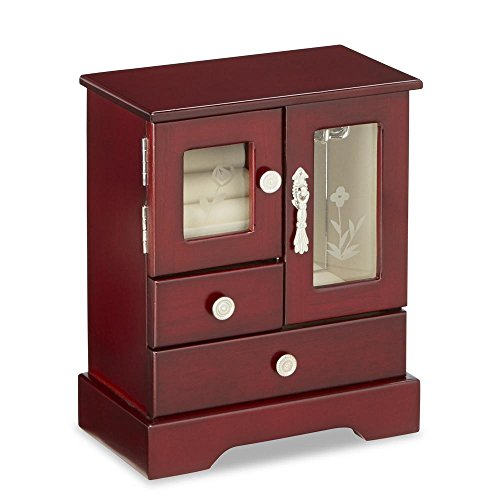 Jaclyn Smith Cherry Glass Door Upright Jewelry Chest by Jiang Feng Wood Industrial Co