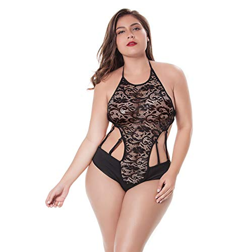 - Moonfate Plus Size Women Teddy Bodysuit High Neck Lace Sheer Mesh One Piece Babydoll Sexy Lingerie (Black, 1XL/2XL)