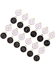 ULTNICE 24pcs Zodiac Sign Enamel Charms Twelve Constellation Pendants Beads Lucky Charm Pendant DIY for Necklace Bracelet Jewelry Making and Crafting