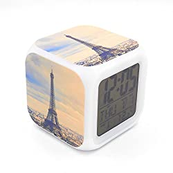 Boyan New Paris Landmark Eiffel Tower Led Alarm Clock Creative Desk Table Clock Multipurpose Calendar Snooze Glowing Led Digital Alarm Clock for Unisex Adults Kids Toy Gift