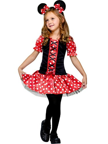 Fun World Costumes Baby Girl's Little Miss Mouse Toddler Costume, Black/Red, Small