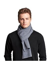 RIONA Men's 100% Australian Merino Wool Scarf Knitted Soft Warm Neckwear with Gift Box (Light grey)