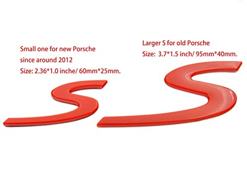 S Letter Rear Lid Boot Hatch Emblem Badge for Porsche Turbo Cayenne Small 2013+