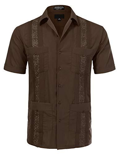Guayabera Classic - JD Apparel Men's Short Sleeve Cuban Guayabera Shirts17-17.5N X-Large Brown