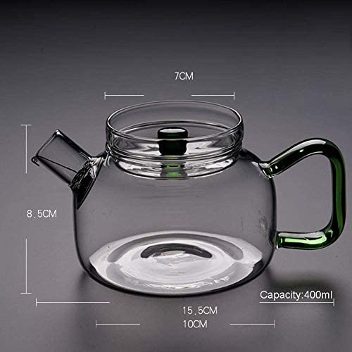 Yadianna 厚み付け耐熱透明なガラスのカンフーティーセットレモンフラワーティーケトルコーヒーショップではお茶ポット用品