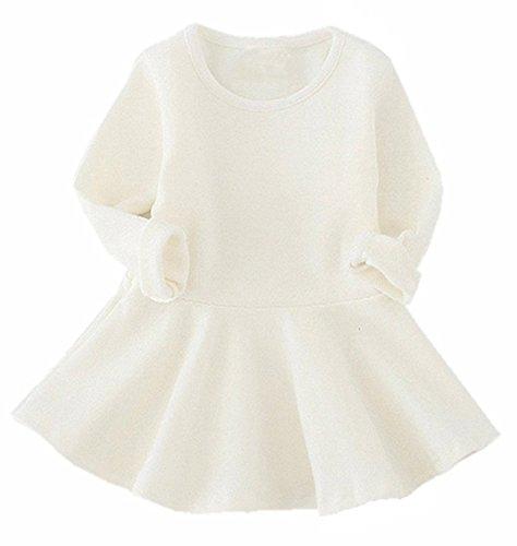 GSVIBK Baby Girls Cotton Dress Toddler Infant Ruffles Cotton Dresses Long Sleeve Solid Ruffle Dress White 476 98 -