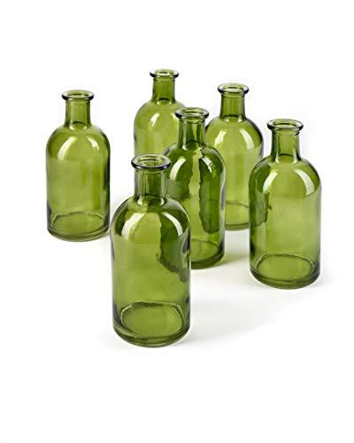 Serene Spaces Living Dark Green Medicine Bottle Bud Vases - Semi-Transparent Glass Vases for Weddings, Events Floral Centerpieces, 2.5