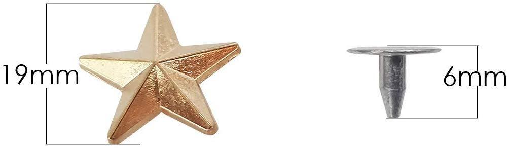 giacche cinture borchie a forma di stella con perni posteriori martellati Borchie color canna di fucile con utensile manuale 19 mm/… rivetti punk per fai da te in pelle Trimming Shop