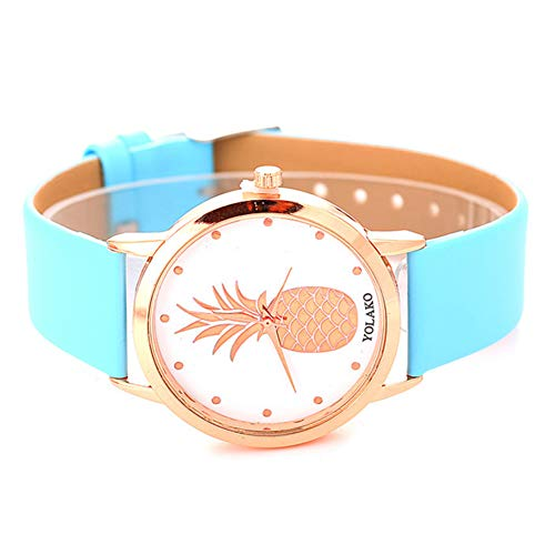 Ladies Watch, Women Pineapple No Number Round Dial Faux Leather Band Analog Quartz Wrist Watch by Gaweb (Image #4)