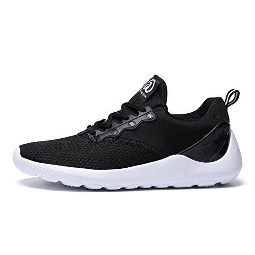 Z.suo Heren Ultra Lichtgewicht Ademend Mesh Street Sport Wandelschoenen Casual Sneakers Zwart