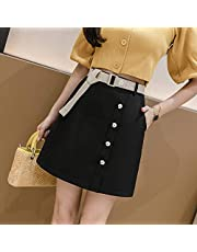 HJJUANAU Summer Little Daisy Buttons Decoration High-waisted A-line Short Skirt with Belt (Color : Black, Size : L)