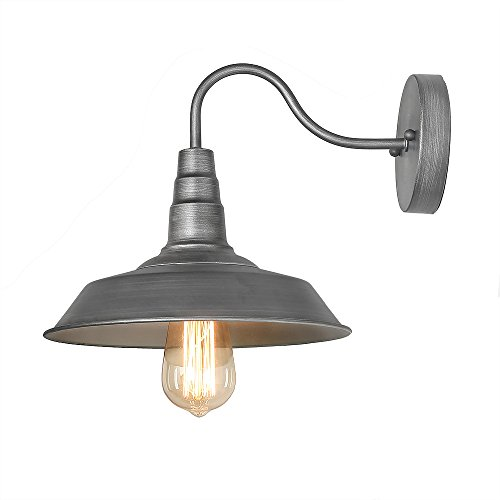 Metal Rustic Sconce (LALUZ 1-Light Warehouse Wall Sconces Gunmetal Wall Lamps Barn Sconce Wall Lighting)