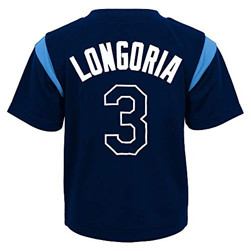 Outerstuff MLB Toddler 2T-4T Team Player Name and Number Jersey T-Shirt (2T, Evan Longoria Tampa Bay Rays)