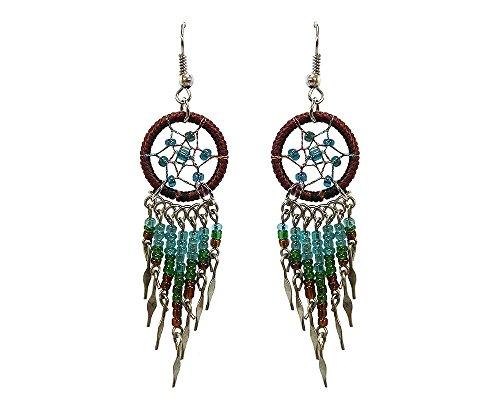 Dream Catcher Long Beaded Dangle Earrings (Brown/Turquoise/Green) -