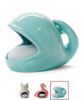 Tri-coastal Design White Cat Sponge Holder Soap Dish for Kitchen and Bathroom