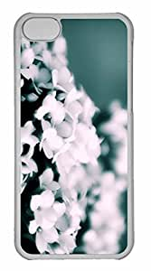 iPhone 5C Case, Personalized Custom White Flowers Bokeh for iPhone 5C PC Clear Case