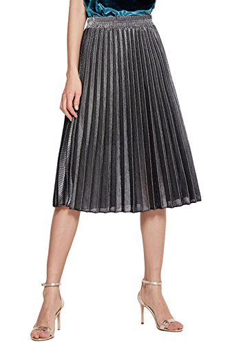 (Chartou Women's Premium Metallic Shiny Shimmer Accordion Pleated Knee-Length Midi Skirt (XX-Large, Silver-Knee Length))