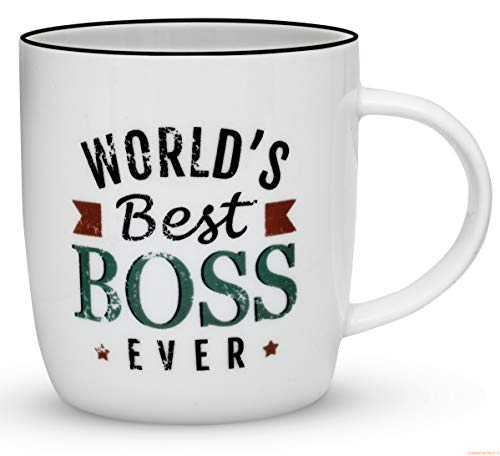 Gifffted Worlds Best Boss Ever Coffee Mug, Funny Gift For Best Boss In The Office, Boss Day, Male and Female, Vintage, Ceramic, 13 Ounce