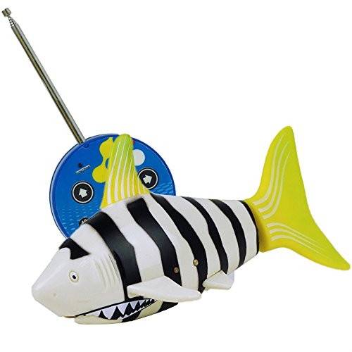 Fish Swim Sharks (RC Toy Mini Radio Remote Control Rechargeable Funny Cute Shark Swim in Water RC Fish Electronic Toy for Kids (Yellow))