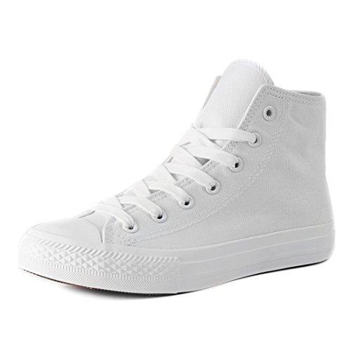 Klassische Unisex Damen Herren Schuhe Low High Top Sneaker Turnschuhe All White High