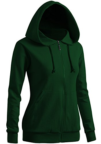CLOVERY Women's Color Contrast Long Sleeve Hoodie Green US M/Tag M