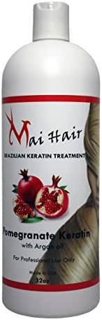 Brazilian Keratin Hair Treatment For Instant results with Pomegranate and Argan Oil Improved Formula Professional Complex Keratin Most Effective Keratina Brasilera