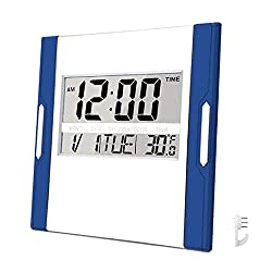 BESTWYA Digital Wall Clock,Silent Alarm Clock with Large LCD Screen with Time/Alarm/ Snooze/Month/ Date/Weekday/ Indoor Temperature (Dark Blue&Silver)
