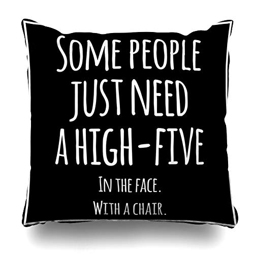 AlliuCoo Throw Pillow Covers Hater Quote Funny Inspirational Quotation Meme High Sarcastic Five Sarcasm Design Lifestyle Home Decor Cushion Case Square Size 16