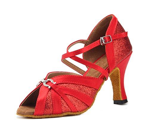 Miyoopark - Zapatillas de danza para mujer Red-8cm Heel