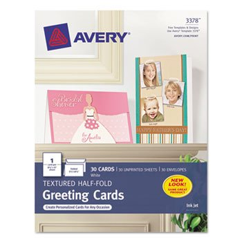 Avery 3378 Inkjet Greeting Cards, Textured, 5-1/2