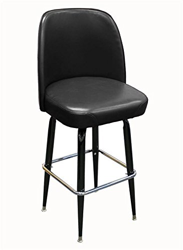 Black Finish Round Tapered (American Tables & Seating SR-4J-BVS Swivel Bar Stool, Jumbo Bucket Seat and Cross-Over Base, Welded Round Tapered Tubing, Black Enamel Finish, Black Vinyl Seat Attached, 18