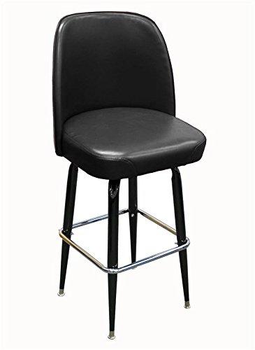 - American Tables & Seating SR-4J-BVS Swivel Bar Stool, Jumbo Bucket Seat and Cross-Over Base, Welded Round Tapered Tubing, Black Enamel Finish, Black Vinyl Seat Attached, 18