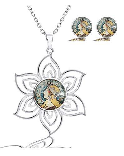 MaXing Image Custom Fashion Lotus Pattern Glass Crystal Noosa Snap Charm Necklace Pendant with 2pcs Earing Studs Jewelry Set (Alphonse Alfons Mucha Zodiac Circular)