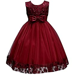 KISSOURBABY 2017 Flower Vintage Dresses Girls Knee Medium Children Birthday Party Clothing Wedding Dress (Burgundy,5-6Years)