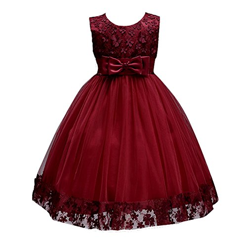 Girls Clothes Princess Clothes Summer Lace Knee Wedding Gowns Girls Sleeveless Sashes A Line Flower Dresses for Pageant Party Flower Clothes 4T Appliques Wine Red (Burgundy, 6)