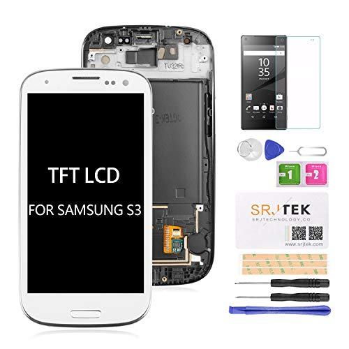 for Samsung Galaxy S3 i9300 i9301 i535 LCD Replacement Touch Screen Digitizer TFT Display Touchscreen Glass with Frame Assembly Kits,(NOT AMOLED) Include Tempered Glass(White) (Display Samsung Galaxy S3)