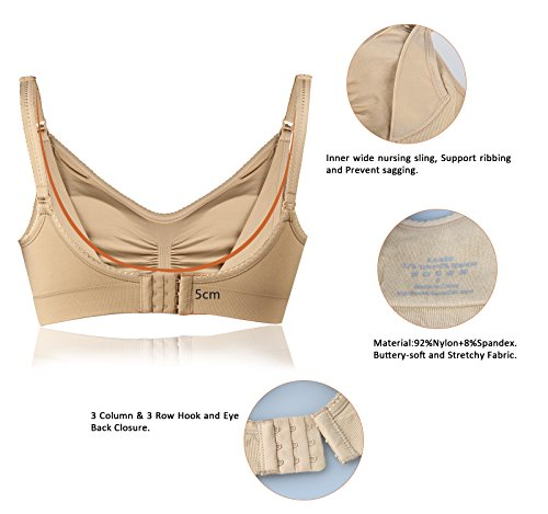 iLoveSIA - Sujetador de maternidad Acolchado de Maternidad sin Costura para Mujer para laLactancia Materna 1/2/3Paquetes Beige nuevo