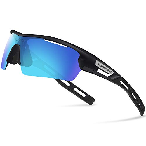 Torege Polarized Sports Sunglasses for Men Women Cycling Running Driving TR033(Black&Black tips&Blue lens)