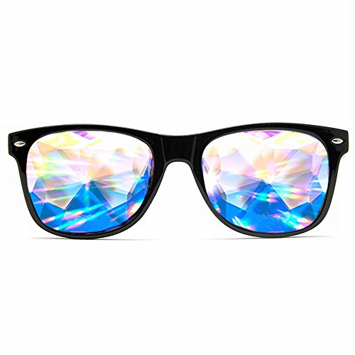 GloFX Ultimate Kaleidoscope + Diffraction Glasses - Black - Rave Rainbow EDM Diffraction