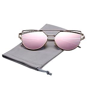 Pro Acme Fashion Premium Cat Eye Sunglasses for Women (Gold Frame/Pink Mirrored Lens)